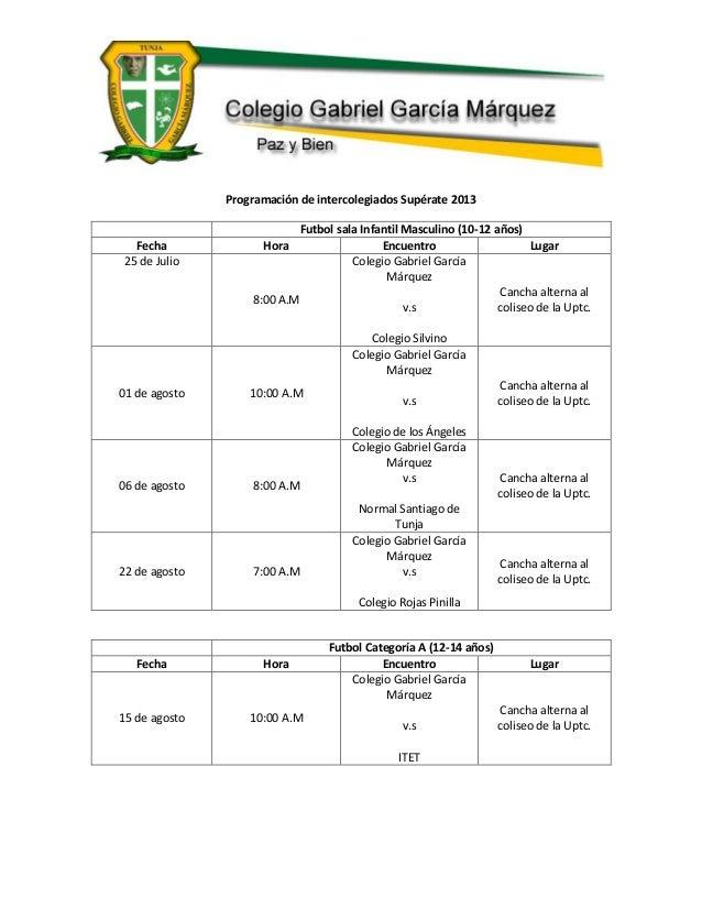 Programación de intercolegiados Supérate 2013 Futbol sala Infantil Masculino (10-12 años) Fecha Hora Encuentro Lugar 25 de...