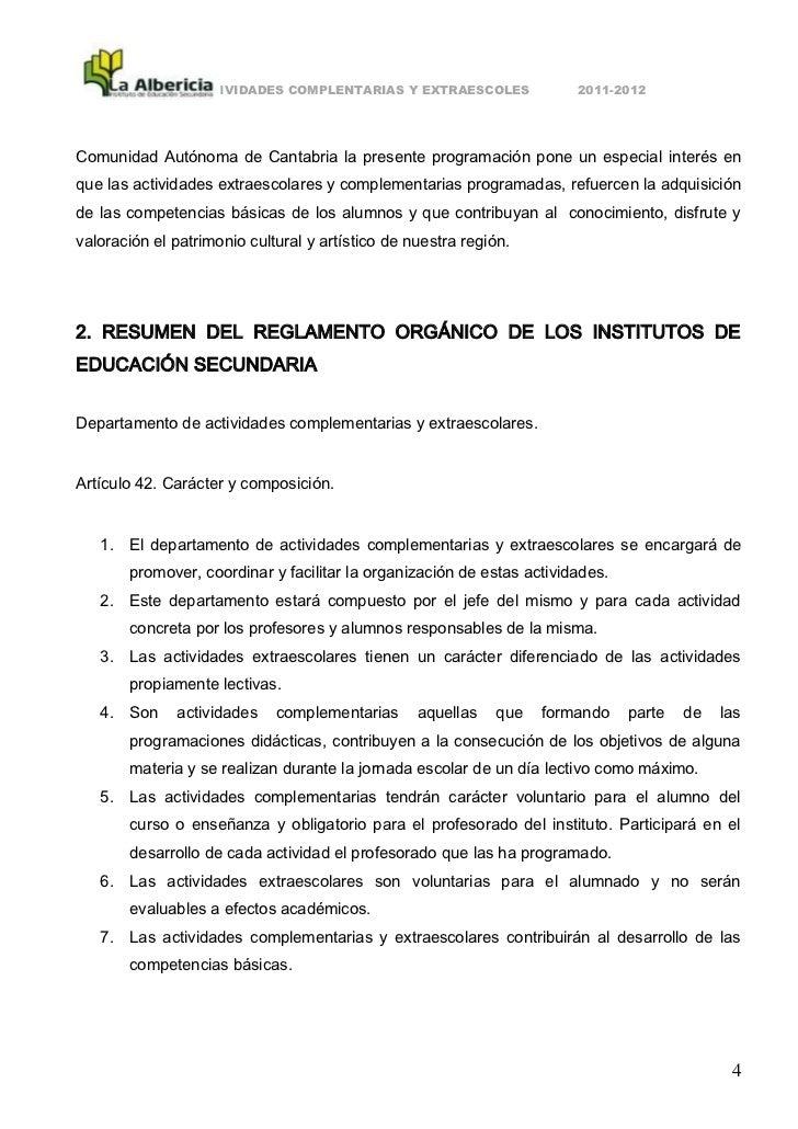 ACTIVIDADES COMPLENTARIAS Y EXTRAESCOLES              2011-2012Comunidad Autónoma de Cantabria la presente programación po...