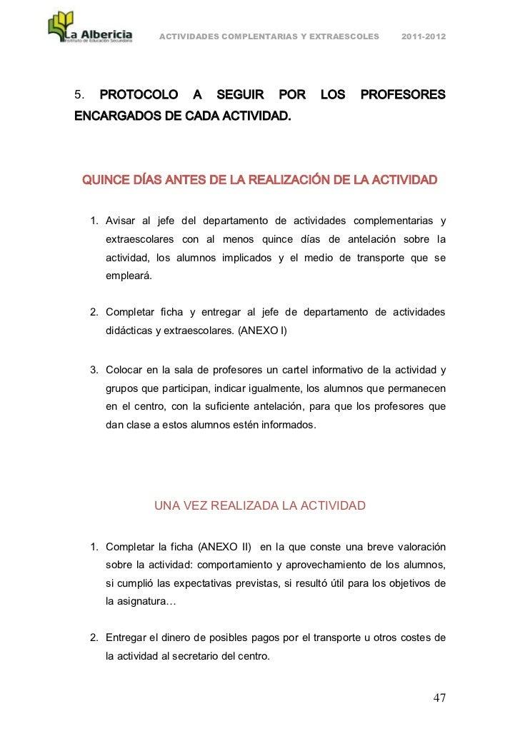 ACTIVIDADES COMPLENTARIAS Y EXTRAESCOLES              2011-20125.     PROTOCOLO            A    SEGUIR          POR    LOS...