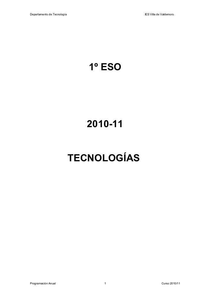 Departamento de Tecnología                 IES Villa de Valdemoro                                1º ESO                   ...