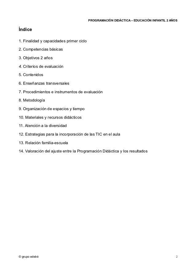 PROGRAMACIÓN DIDÁCTICA – EDUCACIÓN INFANTIL 2 AÑOSÍndice1. Finalidad y capacidades primer ciclo2. Competencias básicas3. O...