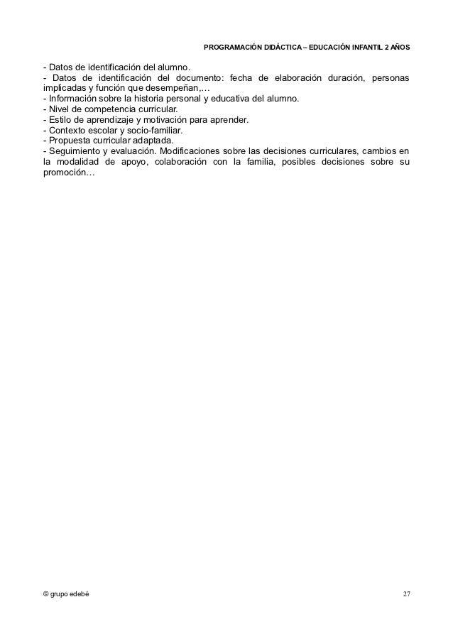 PROGRAMACIÓN DIDÁCTICA – EDUCACIÓN INFANTIL 2 AÑOS- Datos de identificación del alumno.- Datos de identificación del docum...