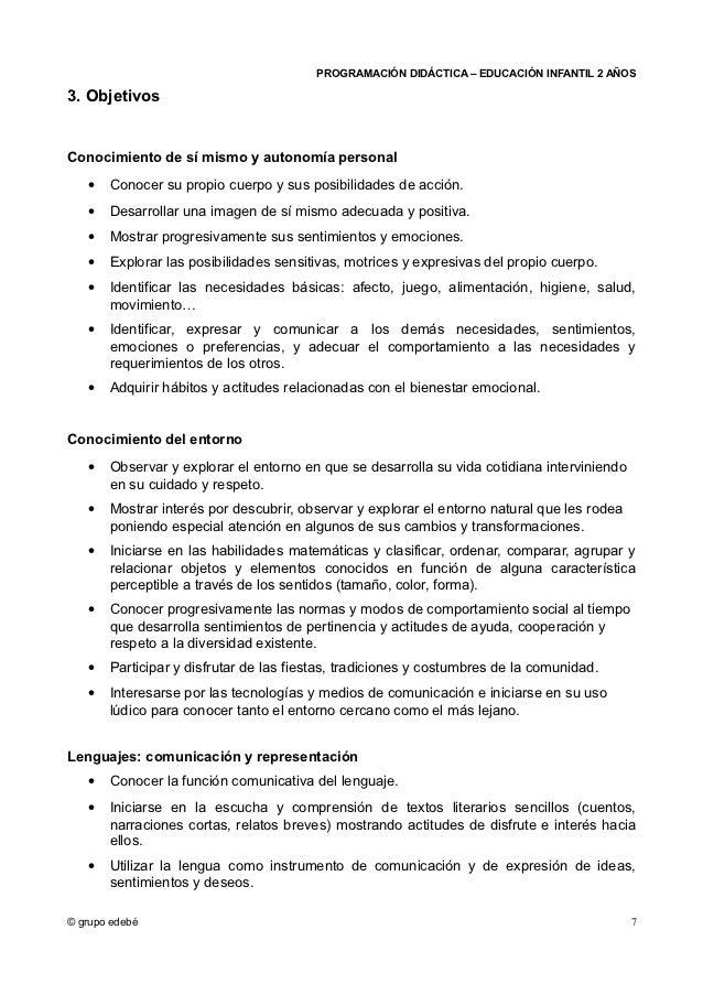 PROGRAMACIÓN DIDÁCTICA – EDUCACIÓN INFANTIL 2 AÑOS3. ObjetivosConocimiento de sí mismo y autonomía personal   •   Conocer ...