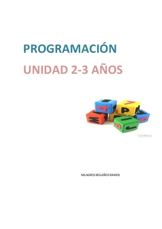 PROGRAMACIÓN  UNIDAD 2-3 AÑOS  MILAGROS BOLAÑOS RAMOS