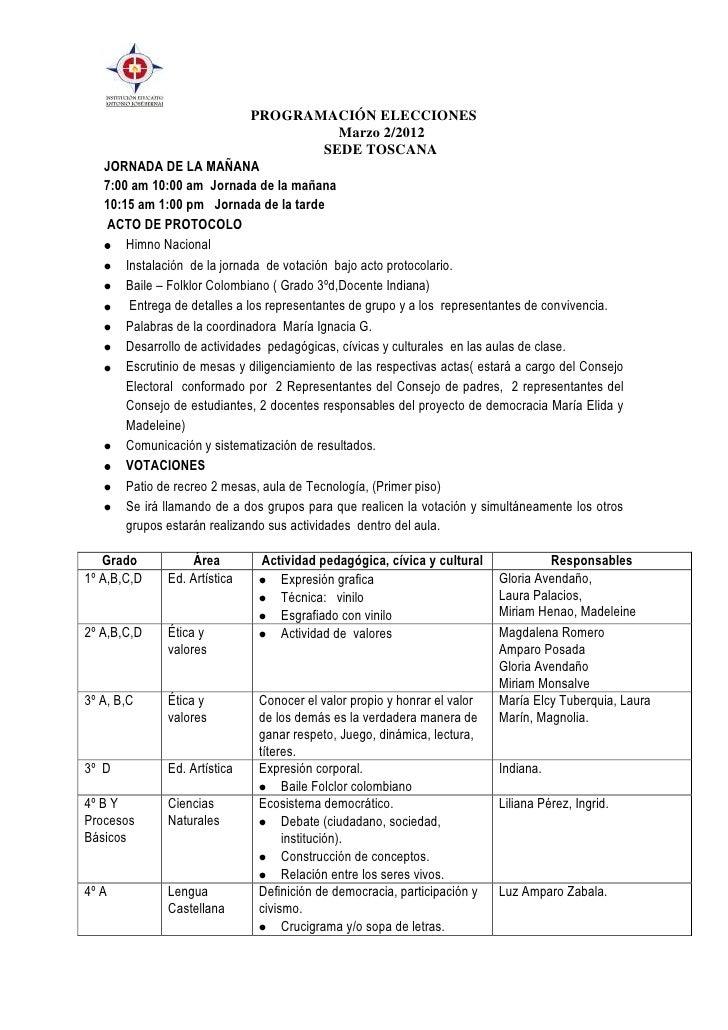 PROGRAMACIÓN ELECCIONES                                               Marzo 2/2012                                        ...