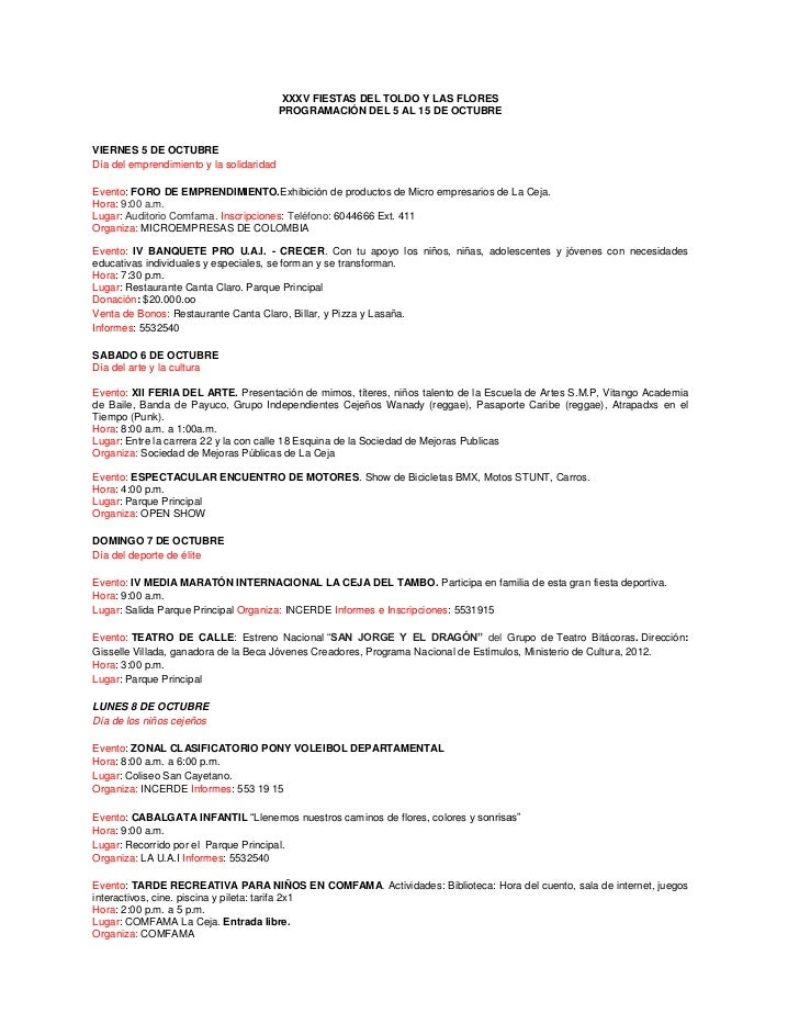 XXXV FIESTAS DEL TOLDO Y LAS FLORES                                          PROGRAMACIÓN DEL 5 AL 15 DE OCTUBREVIERNES 5 ...