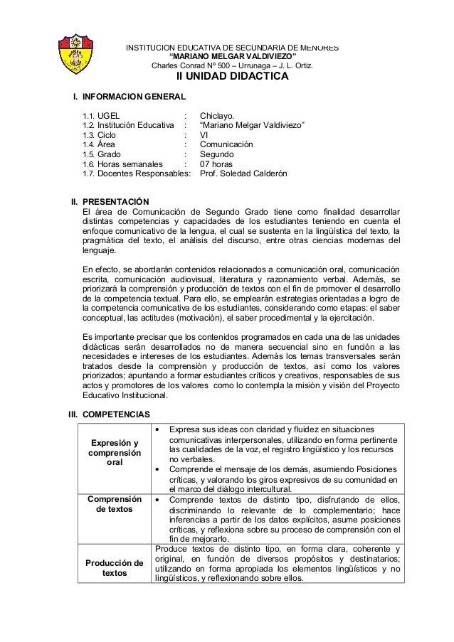"INSTITUCION EDUCATIVA DE SECUNDARIA DE MENORES ""MARIANO MELGAR VALDIVIEZO"" Charles Conrad Nº 500 – Urrunaga – J. L. Ortiz...."