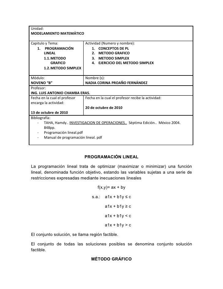 Unidad: MODELAMIENTO MATEMÁTICO  Capitulo y Tema:             Actividad (Numero y nombre):    1. PROGRAMACIÓN             ...