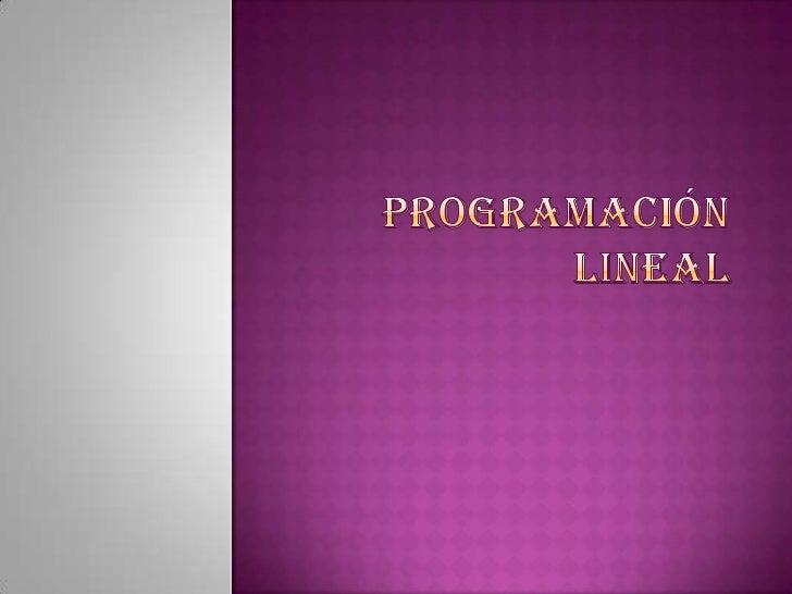 Programación lineal <br />