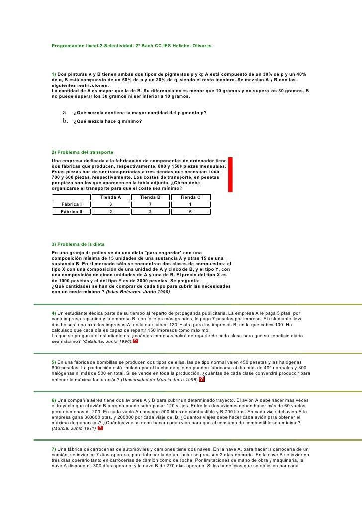 Programación lineal-2-Selectividad- 2º Bach CC IES Heliche- Olivares     1) Dos pinturas A y B tienen ambas dos tipos de p...