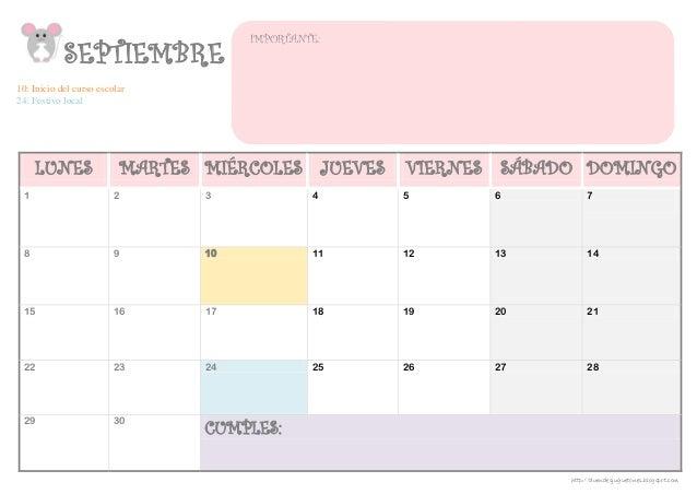 SEPTIEMBRE 10: Inicio del curso escolar 24: Festivo local LUNES MARTES MIÉRCOLES JUEVES VIERNES SÁBADO DOMINGO  1  2  3  4...