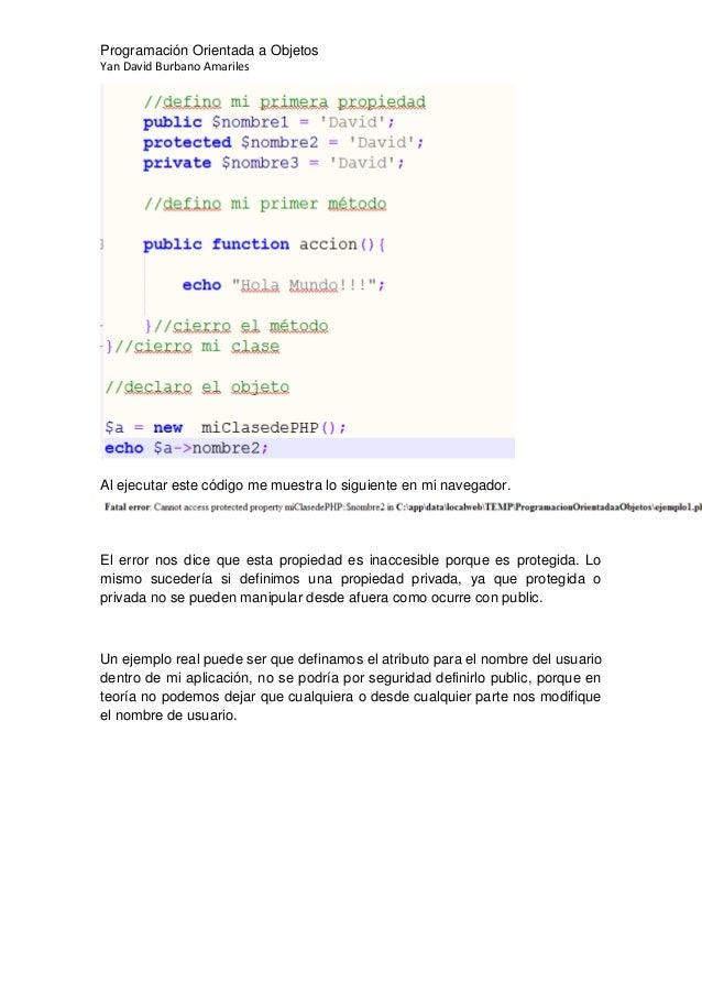 programacion orientada a objetos en php ejemplos pdf