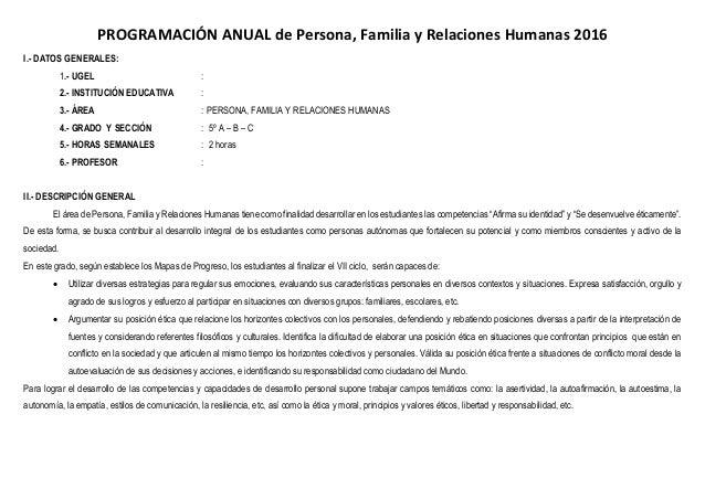 PROGRAMACIÓN ANUAL de Persona, Familia y Relaciones Humanas 2016 I.- DATOS GENERALES: 1.- UGEL : 2.- INSTITUCIÓN EDUCATIVA...
