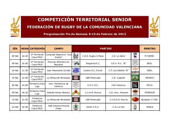 COMPETICIÓN TERRITORIAL SENIOR             FEDERACIÓN DE RUGBY DE LA COMUNIDAD VALENCIANA                                 ...
