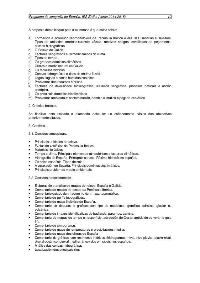 Programa de xeografía de España. IES Elviña (curso 2014-2015) 11  · Comentario de mapas temáticos sobre vexetación, solos ...