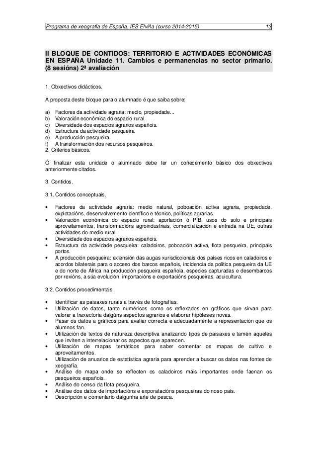 Programa de xeografía de España. IES Elviña (curso 2014-2015) 14  · Debate sobre o futuro e posibilidade da acuicultura.  ...
