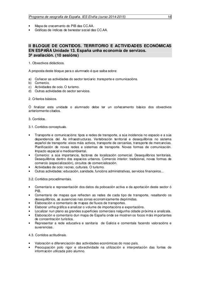 Programa de xeografía de España. IES Elviña (curso 2014-2015) 17  V BLOQUE DE CONTIDOS. ESPAÑA EN EUROPA E NO MUNDO Unidad...