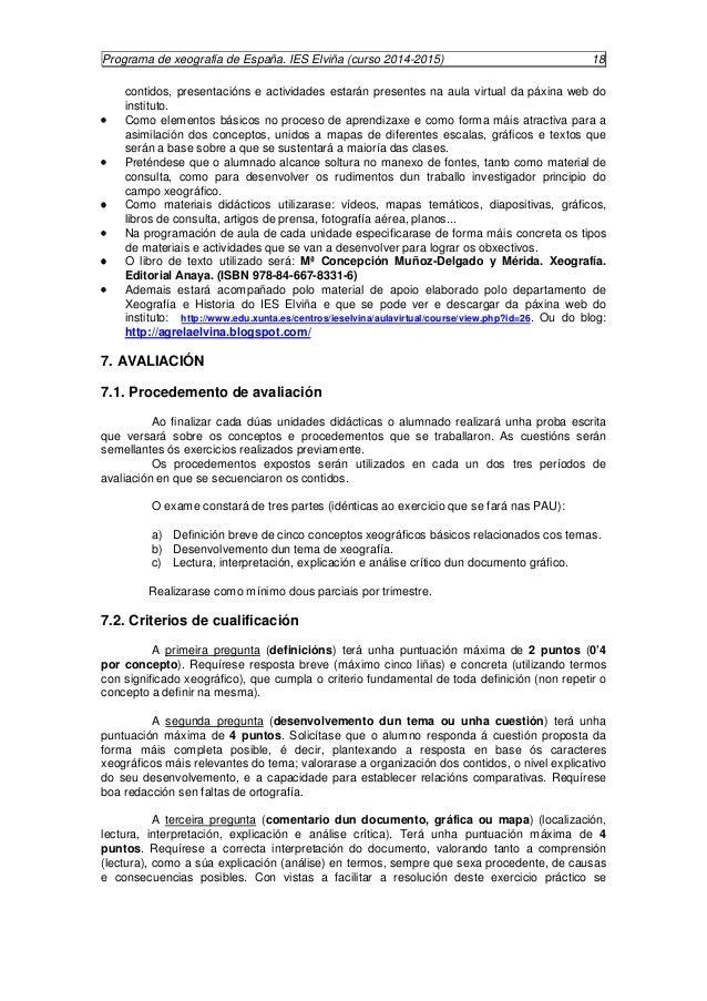 Programa de xeografía de España. IES Elviña (curso 2014-2015) 19  recordan os puntos básicos ós que debe atender a respost...