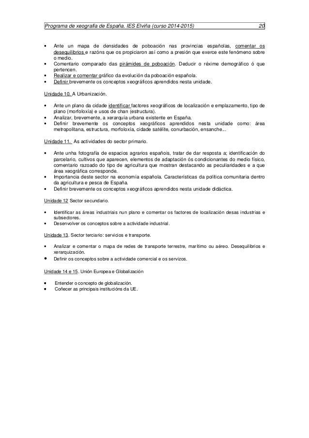 Programación xeografía españa 2014 2015