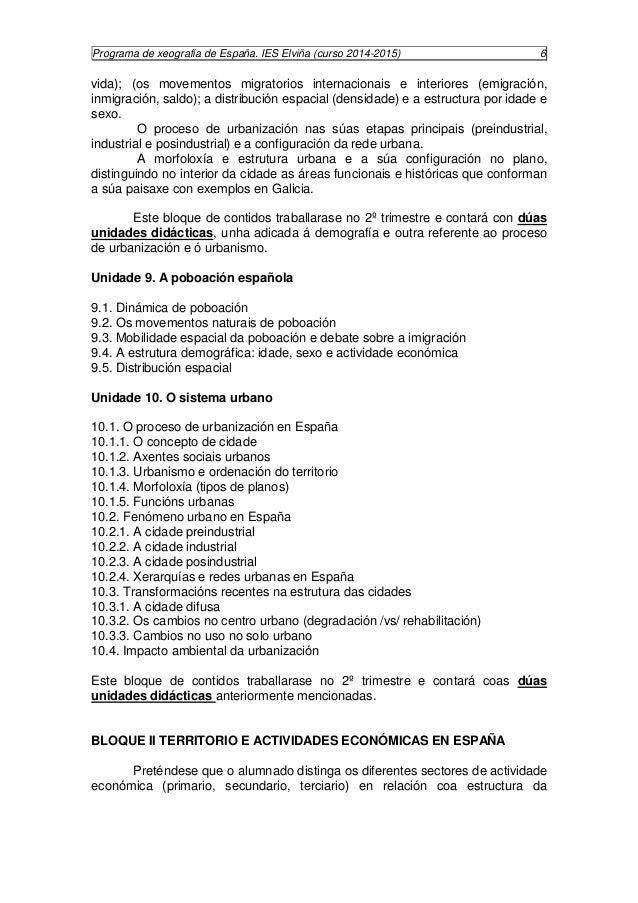 Programa de xeografía de España. IES Elviña (curso 2014-2015) 7  poboación e os recursos existentes no territorio. Isto su...
