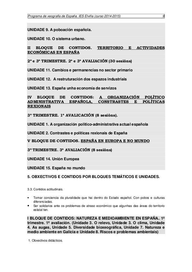 Programa de xeografía de España. IES Elviña (curso 2014-2015) 10  A proposta deste bloque para o alumnado é que saiba sobr...