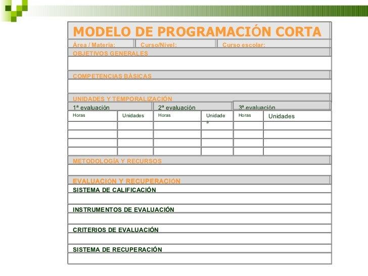 MODELO DE PROGRAMACI Ó N CORTA Área / Materia:  Curso/Nivel:  Curso escolar:  OBJETIVOS GENERALES    COMPETENCIAS BÁSIC...