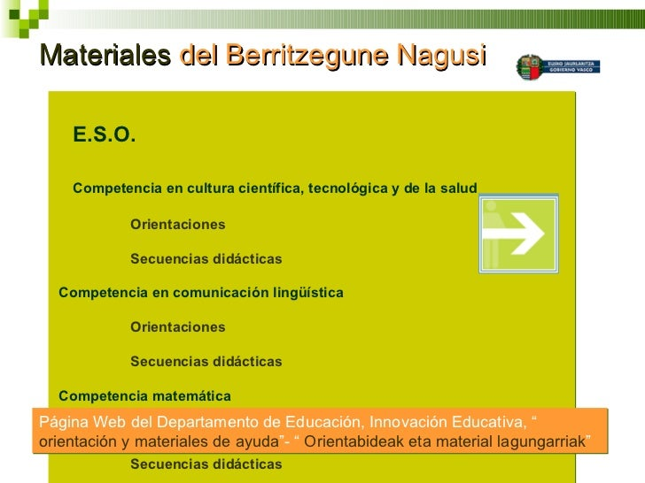 Materiales  del Berritzegune Nagusi <ul><li>  E.S.O. </li></ul><ul><li>Competencia en cultura científica, tecnológica y d...