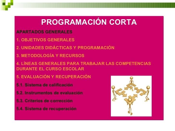 PROGRAMACIÓN CORTA APARTADOS GENERALES 1. OBJETIVOS GENERALES 2. UNIDADES DIDÁCTICAS Y PROGRAMACIÓN 3. METODOLOGÍA Y RECUR...