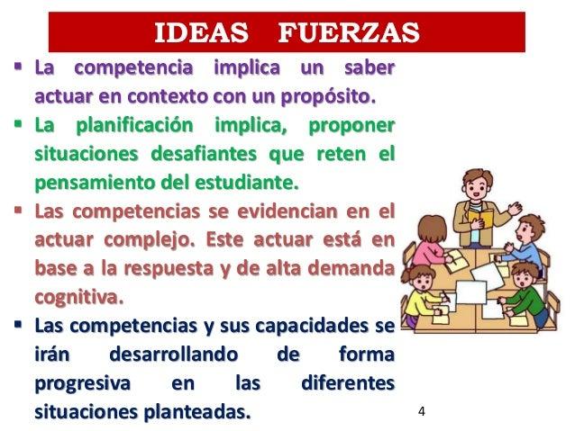 IDEAS FUERZAS  La competencia implica un saber actuar en contexto con un propósito.  La planificación implica, proponer ...