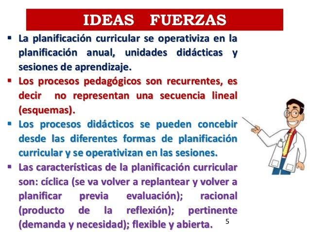 IDEAS FUERZAS  La planificación curricular se operativiza en la planificación anual, unidades didácticas y sesiones de ap...