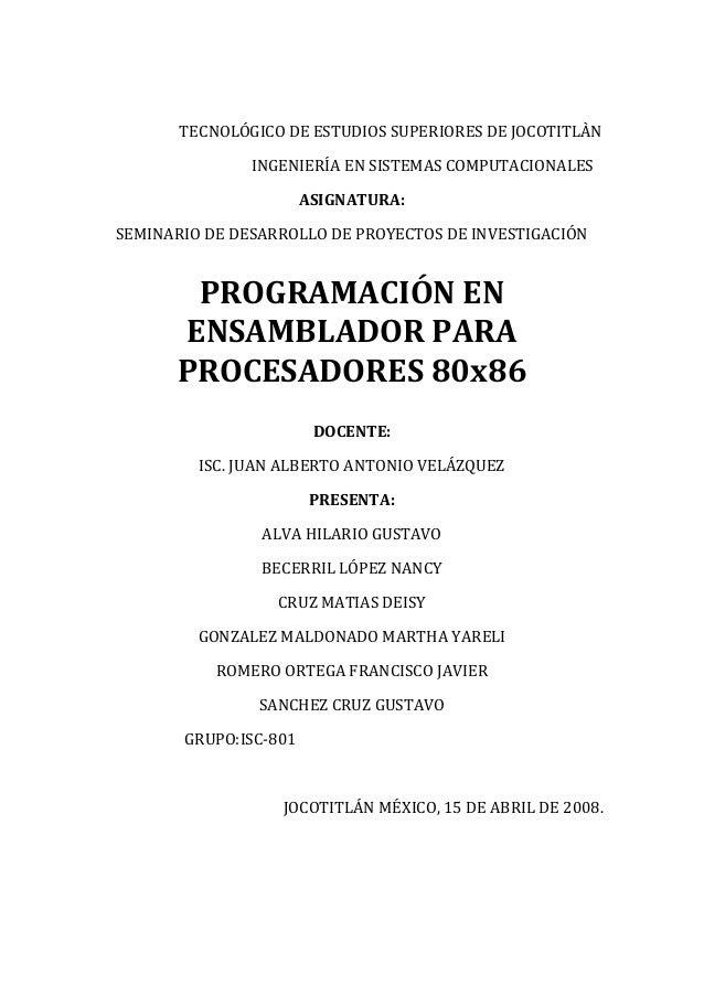 TECNOLÓGICO DE ESTUDIOS SUPERIORES DE JOCOTITLÀN INGENIERÍA EN SISTEMAS COMPUTACIONALES ASIGNATURA: SEMINARIO DE DESARROLL...