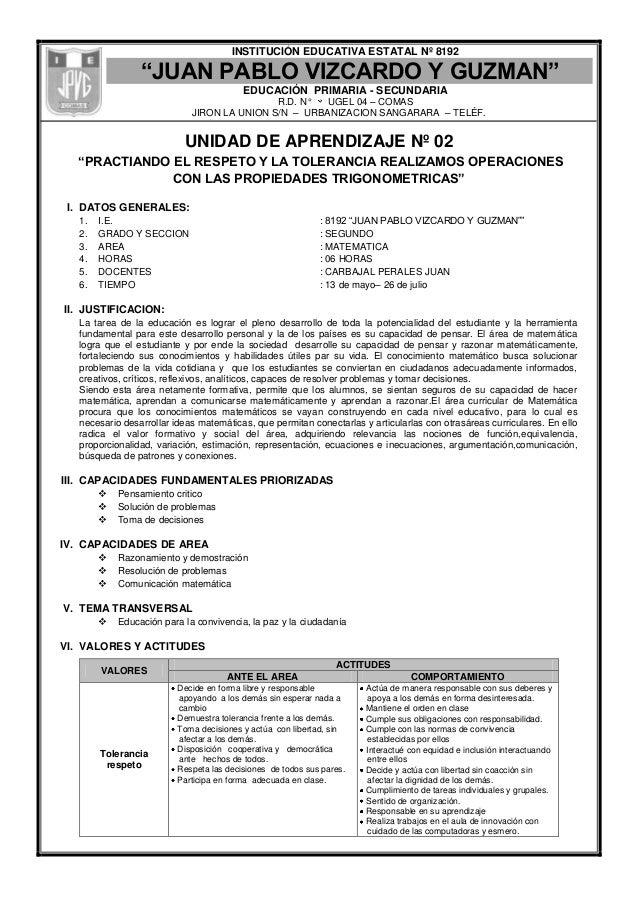 """INSTITUCIÓN EDUCATIVA ESTATAL Nº 8192""""JUAN PABLO VIZCARDO Y GUZMAN""""EDUCACIÓN PRIMARIA - SECUNDARIAR.D. N° UGEL 04 – COMASJ..."""