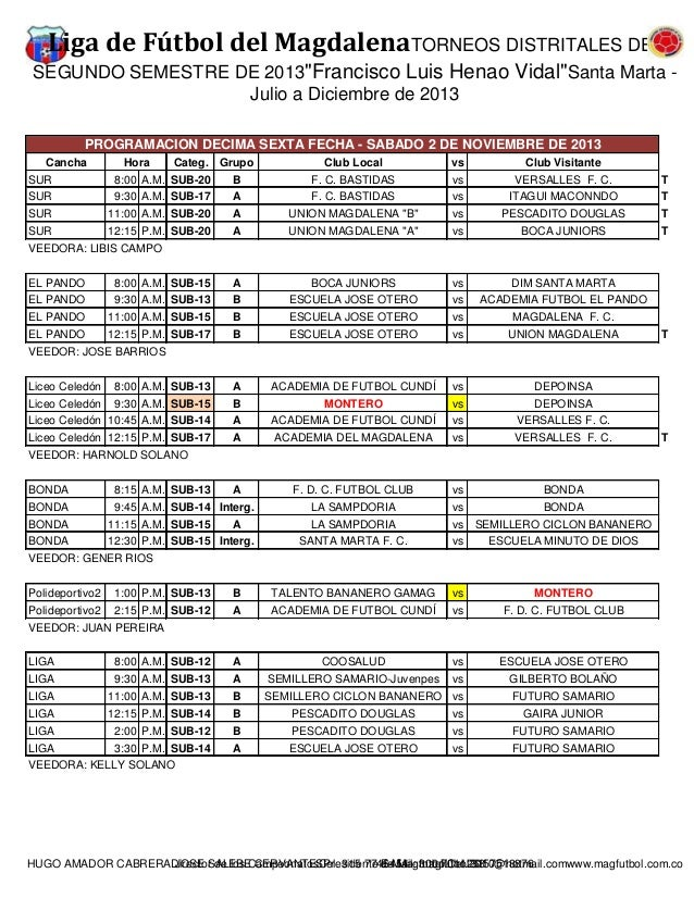"""Liga de Fútbol del MagdalenaTORNEOS DISTRITALES DEL SEGUNDO SEMESTRE DE 2013""""Francisco Luis Henao Vidal""""Santa Marta Julio ..."""