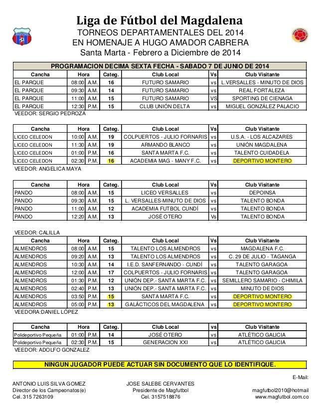 Liga de Fútbol del Magdalena TORNEOS DEPARTAMENTALES DEL 2014 EN HOMENAJE A HUGO AMADOR CABRERA Santa Marta - Febrero a Di...