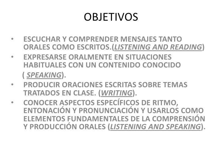 OBJETIVOS<br /><ul><li>ESCUCHAR Y COMPRENDER MENSAJES TANTO ORALES COMO ESCRITOS.(LISTENING AND READING)