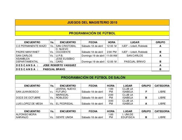 JUEGOS DEL MAGISTERIO 2015 PROGRAMACIÓN DE FÚTBOL ENCUENTRO Vs. ENCUENTRO FECHA HORA LUGAR GRUPO C.E PERMANENTE MAZO Vs. S...