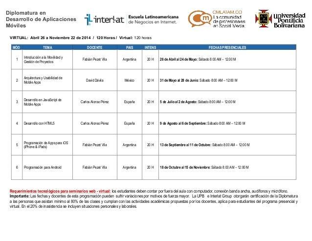 Diplomatura en Desarrollo de Aplicaciones Móviles VIRTUAL: Abril 26 a Noviembre 22 de 2014 / 120 Horas / Virtual: 120 hora...