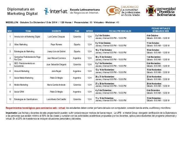 Diplomatura en  Marketing Digital  MEDELLÍN: Octubre 2 a Diciembre 13 de 2014 / 120 Horas / Presenciales: 80 Virtuales - W...