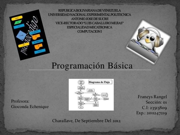 Programación Básica                                                           Francys RangelProfesora:                    ...
