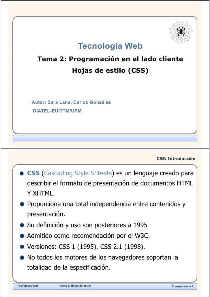 Tecnología Web                                         g              Tema 2: Programación en el lado cliente             ...