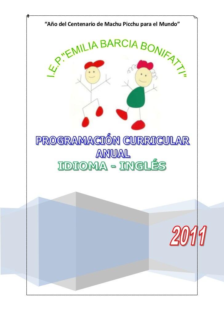 Programacion curricular anual - inglés