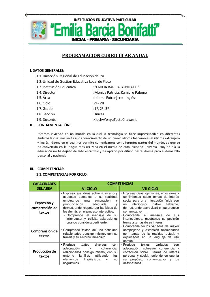 programacion curricular anual minedu 2016 ppt programacion