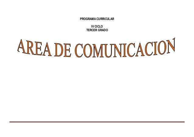 PROGRAMA CURRICULAR IV CICLO TERCER GRADO