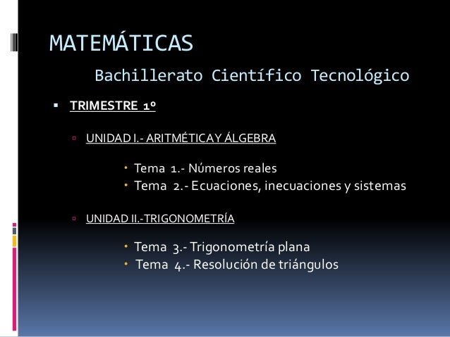 Programacion de matematicas bachiller def Slide 2