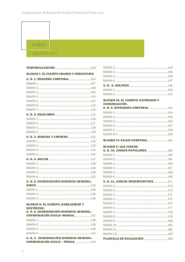 Programación de Educación Física. Primaria. Primer ciclo  11  TEMPORALIZACIÓN  BLOQUE TEMÁTICO UNIDAD DIDÁCTICA  NÚMERO DE...