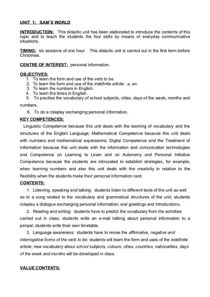 UNIT 1: SAM´S WORLDINTRODUCTION: This didactic unit has been elaborated to introduce the contents of thistopic and to teac...