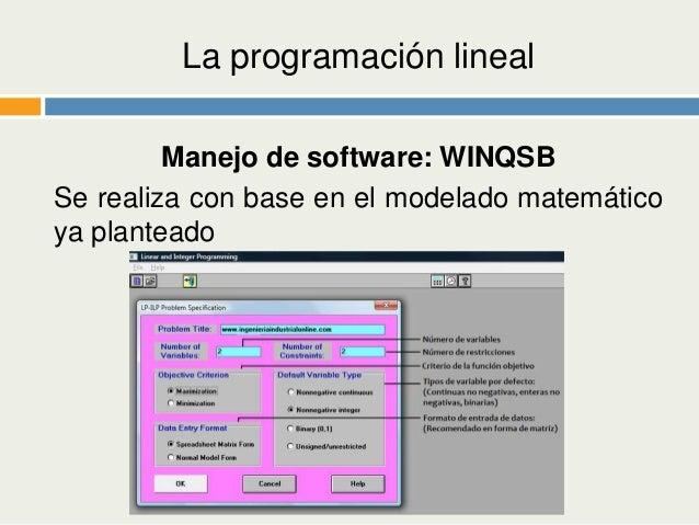 qsb programacion lineal