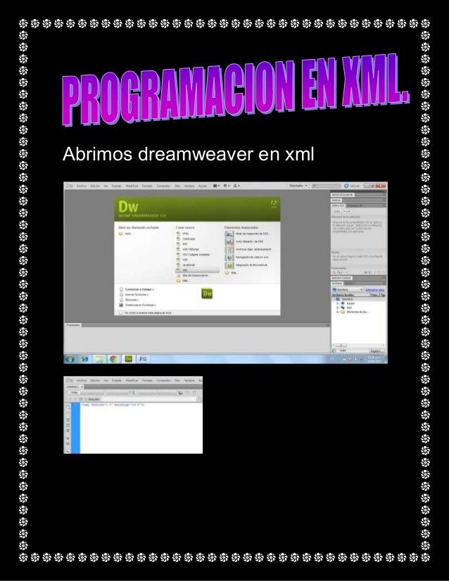 Abrimos dreamweaver en xml