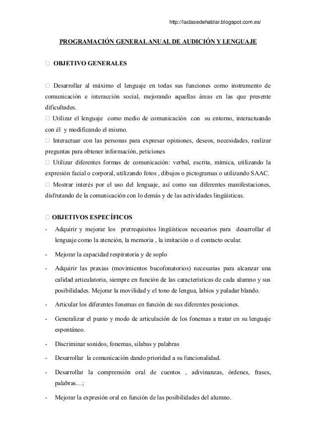 Programacion general aula de logopedia