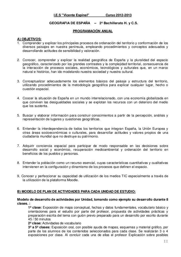 """I.E.S """"Vicente Espinel""""            Curso 2012-2013                     GEOGRAFIA DE ESPAÑA           -- 2º Bachillerato H...."""